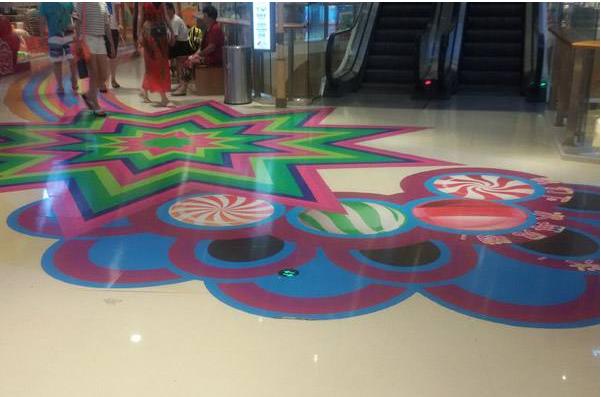 地板膜喷绘广告